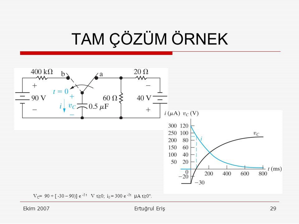 TAM ÇÖZÜM ÖRNEK VC= 90 + [ -30 – 90)] e -5 t V t≥0; i0 = 300 e -5t μA t≥0+.